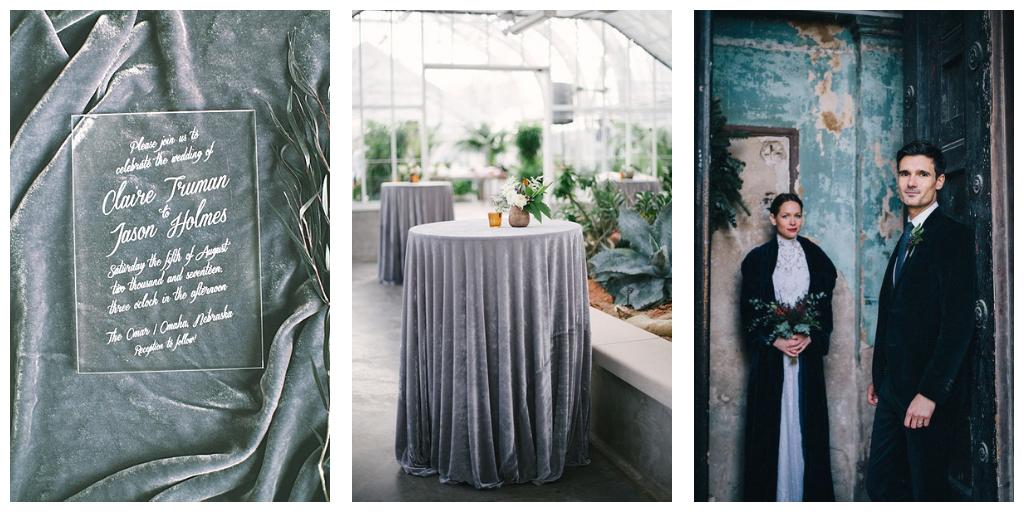 velvet huwelijks details in grijs, huwelijk styling en decoratie