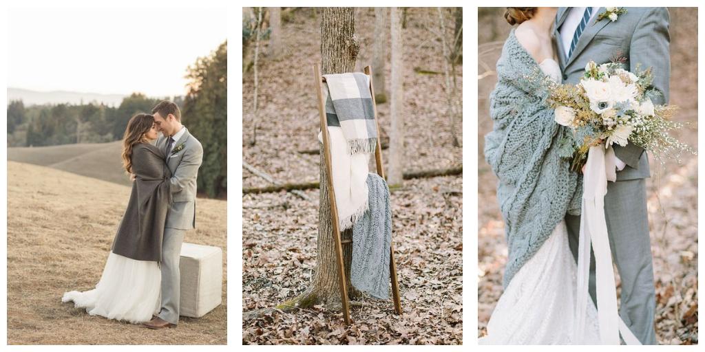 warme dekentjes voor een winter huwelijk in grijs