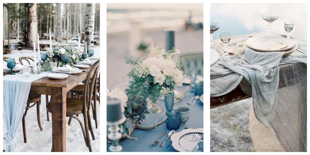 huwelijks decoratie en styling in groen en blauw tinten voor een winters huwelijk.