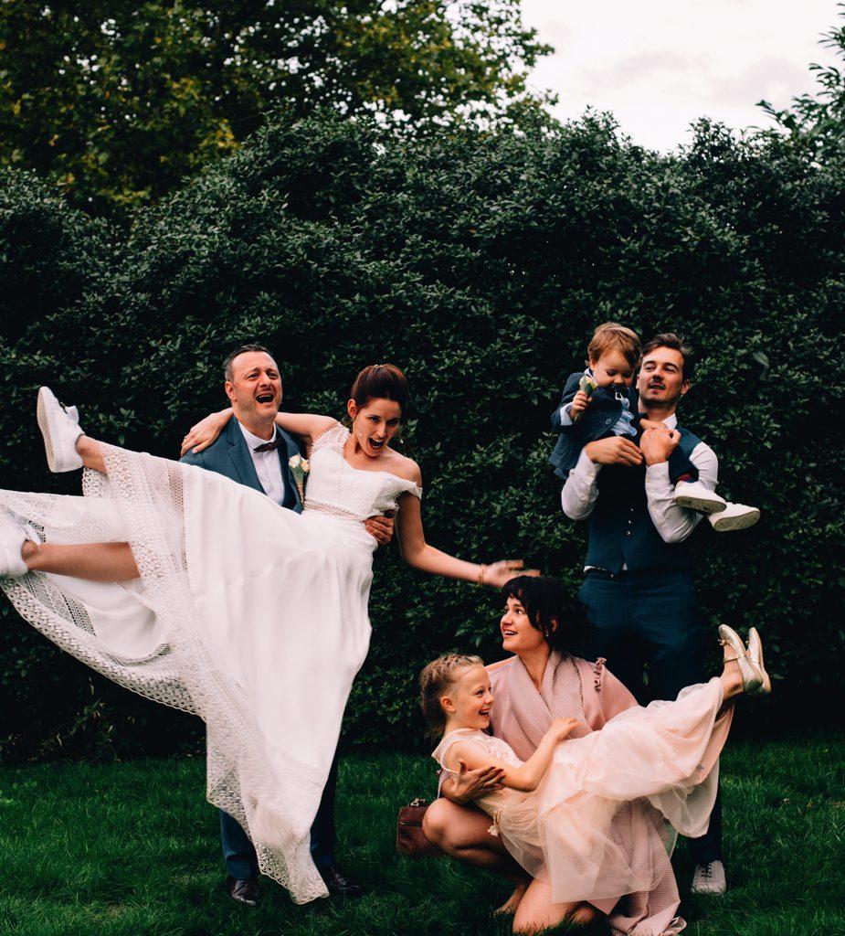 foto bruidspaar en familie