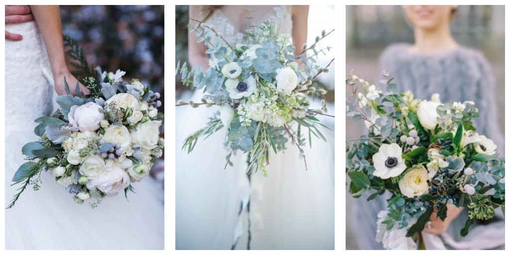bloemen voor een huwelijk in grijs in blauw