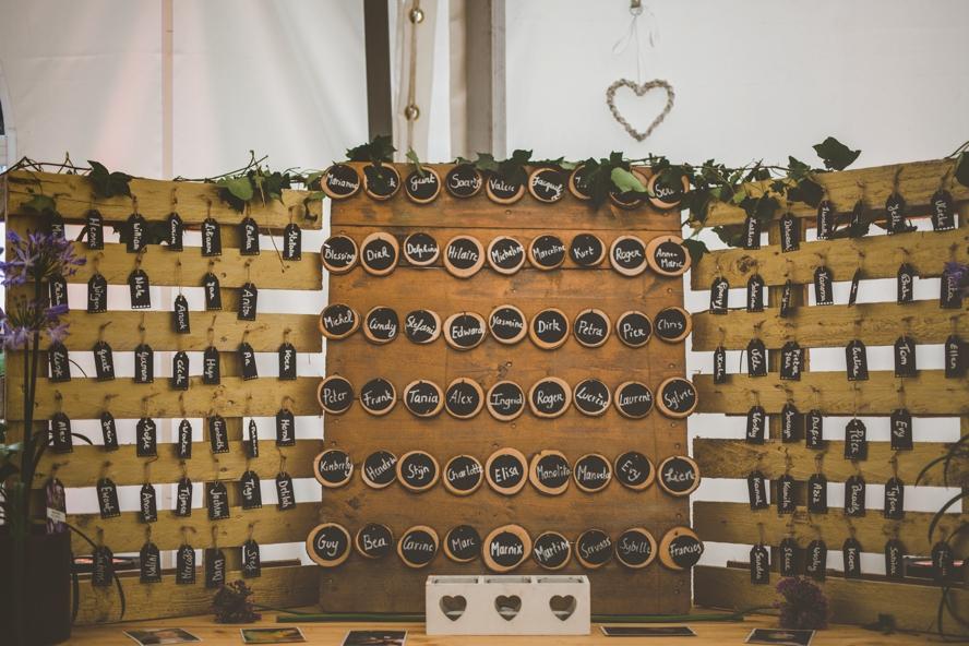 seating chart op huwelijksfeest