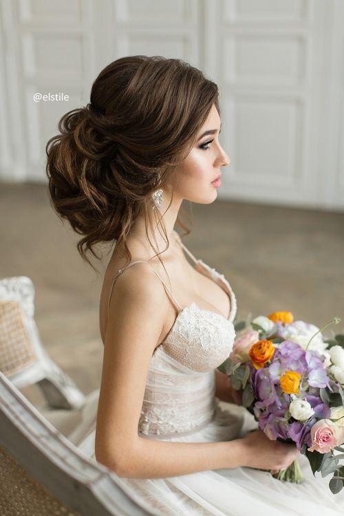 Bruid met opgestoken kapsel
