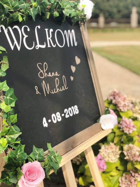 welkombord huwelijk Shana en Michiel